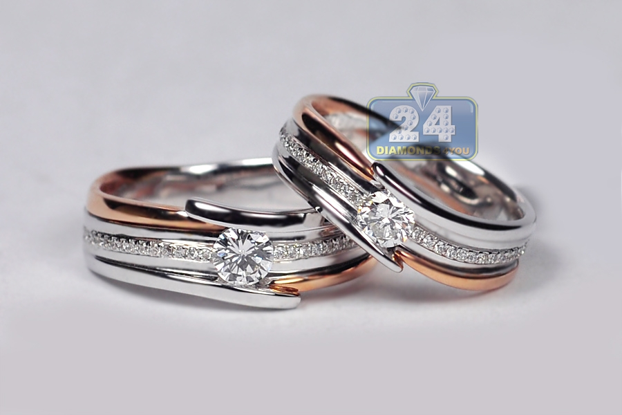 Diamond Two Wedding Bands Set 18K Tone Gold 078 Ct