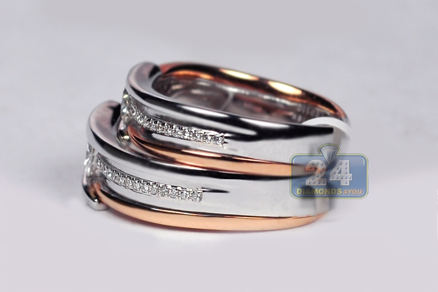 band wedding white tone gold in row and bands rose media two