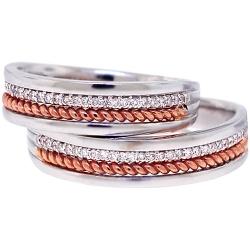 Diamond Wedding Ring Set His Hers 18K Two Tone Gold 0.24 ct