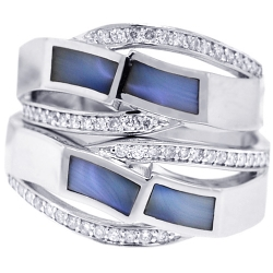 Diamond Opal Wedding Rings Set 18K White Gold 0.32 ct