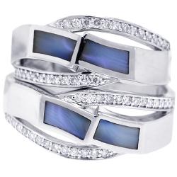 Diamond Opal Wedding Rings Set 18K White Gold 0.32 ct
