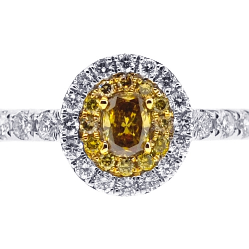 Womens Canary Diamond Engagement Ring 14K White Gold 084 Ct