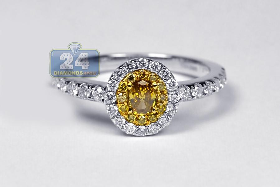 Womens Yellow Diamond Oval Engagement Ring 14K White Gold