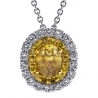 Womens Canary Diamond Oval Drop Necklace 14K White Gold 1.02ct