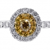 Womens Yellow Diamond Engagement Ring 14K White Gold 0.82 ct