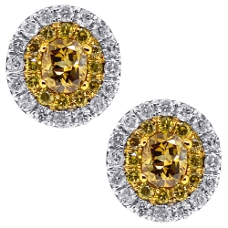 14K White Gold 0.87 ct Yellow Diamond Womens Oval Stud Earrings