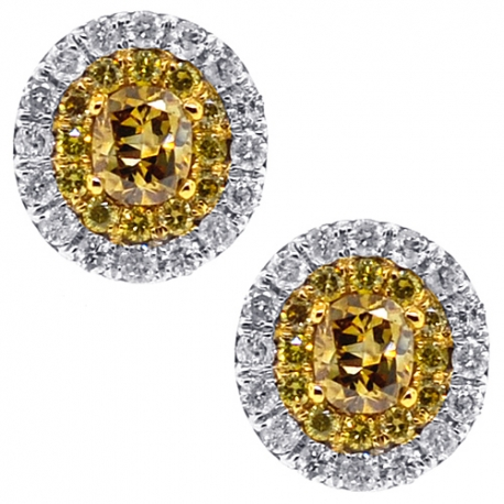 Womens Yellow Diamond Oval Stud Earrings 14K White Gold 0.87 ct