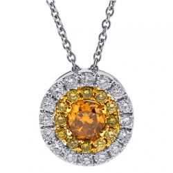Womens Yellow Diamond Drop Necklace 14K White Gold 0.92 ct