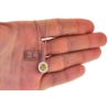 Womens Yellow Diamond Round Drop Necklace 14K White Gold 0.92ct