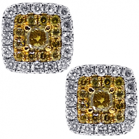 Womens Canary Diamond Square Stud Earrings 14K White Gold 0.98 ct