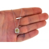 Womens Canary Diamond Square Drop Necklace 14K White Gold .74ct