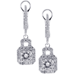 Womens Diamond Drop Halo Earrings 18K White Gold 1.65 ct