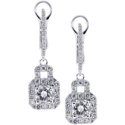 18K White Gold 1.65 ct Diamond Womens Drop Earrings