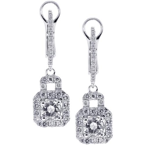 5063bd765 Womens Diamond Drop Halo Earrings 18K White Gold 1.65 ct