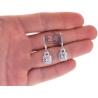 Womens Diamond Drop Halo Earrings 18K White Gold 1.65 ct