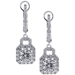 Womens Diamond Dangle Earrings 18K White Gold 2.56 ct