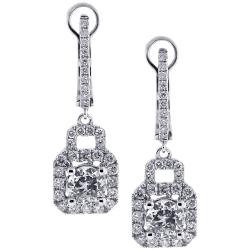 18K White Gold 2.56 ct Diamond Womens Drop Earrings