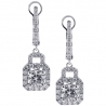 Womens VS2 F Diamond Drop Earrings 18K White Gold 2.56 Carat