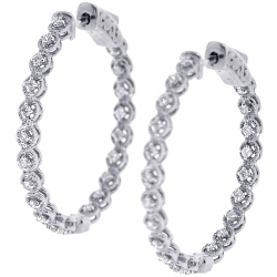 Womens Diamond Round Halo Hoop Earrings 18K White Gold 0.36 ct