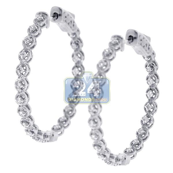 18k White Gold 0 36 Ct Diamond Womens Round Hoop Earrings