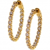 Womens Diamond Round Halo Hoop Earrings 18K Yellow Gold 0.36 ct
