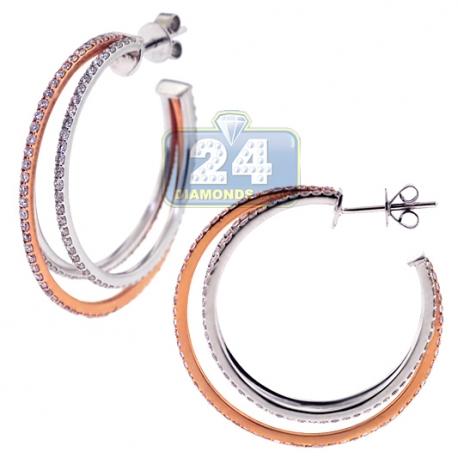 Womens Diamond Triple Hoop Earrings 18K Two Tone Gold 3.06 ct