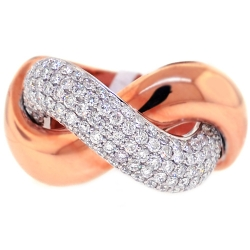 Womens Diamond Knot Ring 18K Two Tone Gold 1.54 ct