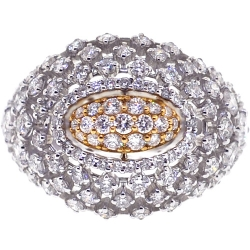 Womens Diamond Lattice Dome Ring 18K Two Tone Gold 2.48 ct