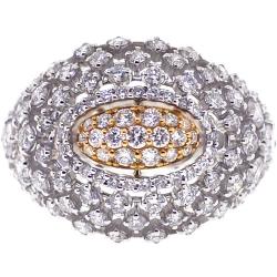 Womens Diamond Lattice Dome Ring 18K Two Tone Gold 2.48 ct