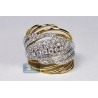Womens Diamond Twist Ring 18K Two Tone Gold 1.70 ct