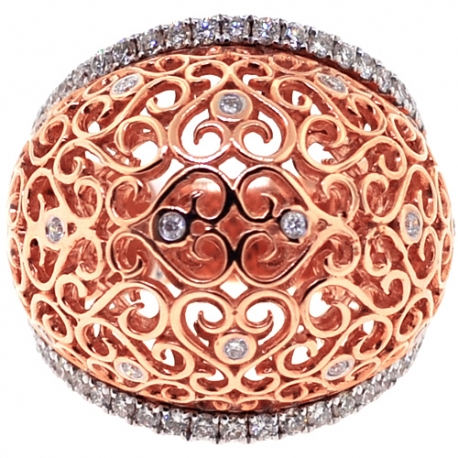 Womens Diamond Filigree Dome Ring 18K Rose Gold 0.81 ct