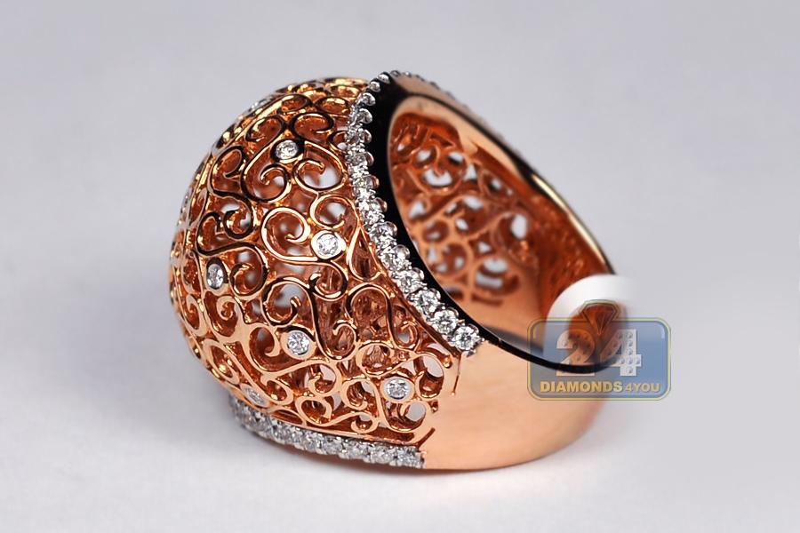 Womens Diamond Filigree Dome Ring 18k Rose Gold 0 81 Ct