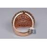 Womens Diamond Filigree Dome Ring 18K Rose Gold 0.81 ct