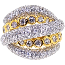 Womens Diamond Crossover Ring 18K Two Tone Gold 3.57 ct