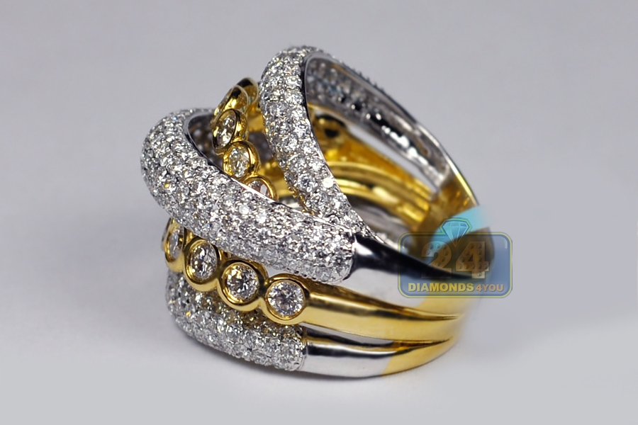 Womens Diamond Crossover Band Ring 18k Two Tone Gold 3 57ct