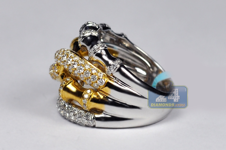 Womens Diamond Bamboo Band Ring 18K Two Tone Gold 189ct