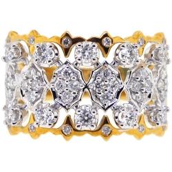 Womens Diamond Openwork Ring 18K Two Tone Gold 0.81 ct