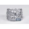 Womens Diamond Floral Ring 18K White Gold 1.22 ct