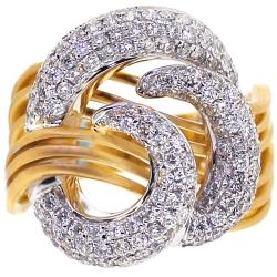 Womens Diamond Swirl Ring 18K Two Tone Ring 1.57 ct