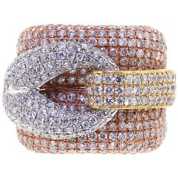 Womens Diamond Large Loop Ring 14K Three Tone Ring 5.45 ct