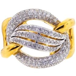 Womens Diamond Braided Wave Ring 18K Yellow Gold 1.68 ct