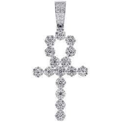 14K White Gold 2.85 ct Diamond Egyptian Ankh Cross Mens Pendant