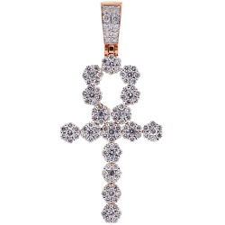 14K Rose Gold 2.85 ct Diamond Egyptian Ankh Cross Mens Pendant