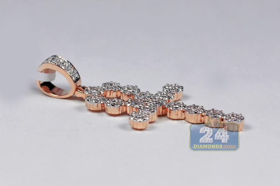 Mens diamond egyptian ankh cross pendant 14k rose gold 285 ct aloadofball Images