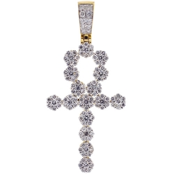 14K Yellow Gold 2.85 ct Diamond Egyptian Ankh Cross Mens Pendant