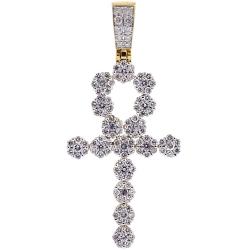 14K Yellow Gold 2.85 ct Diamond Egyptian Ankh Cross Mens Pendant