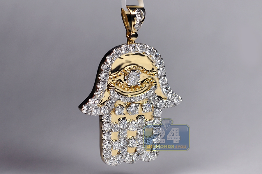 Mens diamond hamsa hand luxury pendant 14k yellow gold 495 ct mozeypictures Images