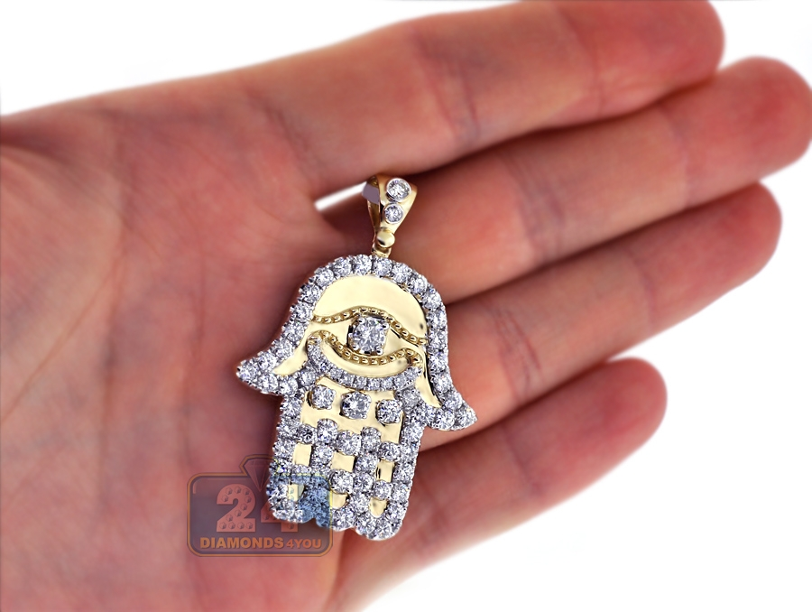 quot necklace pendant dp white gold or hamsa diamond yellow cut