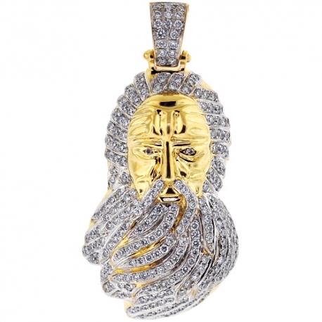 Mens Diamond Moses Prophet Pendant 10K Yellow Gold 2.05ct
