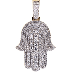 Mens Full Diamond Hamsa Hand Pendant 14K Yellow Gold 2.27 ct